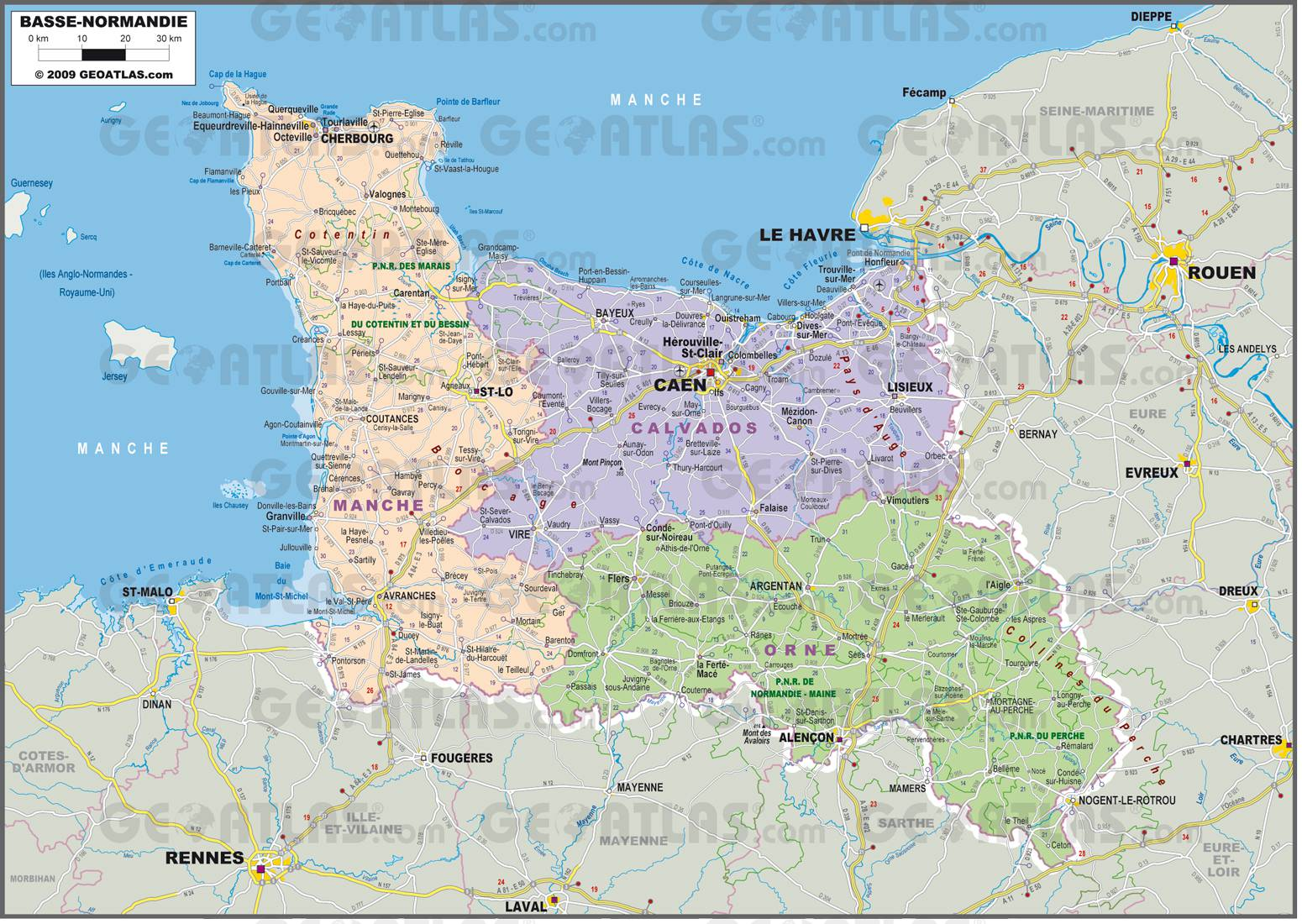 Carte administrative de la Basse-Normandie