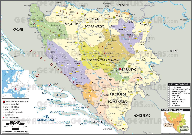 Carte administrative de la Bosnie-Herzégovine