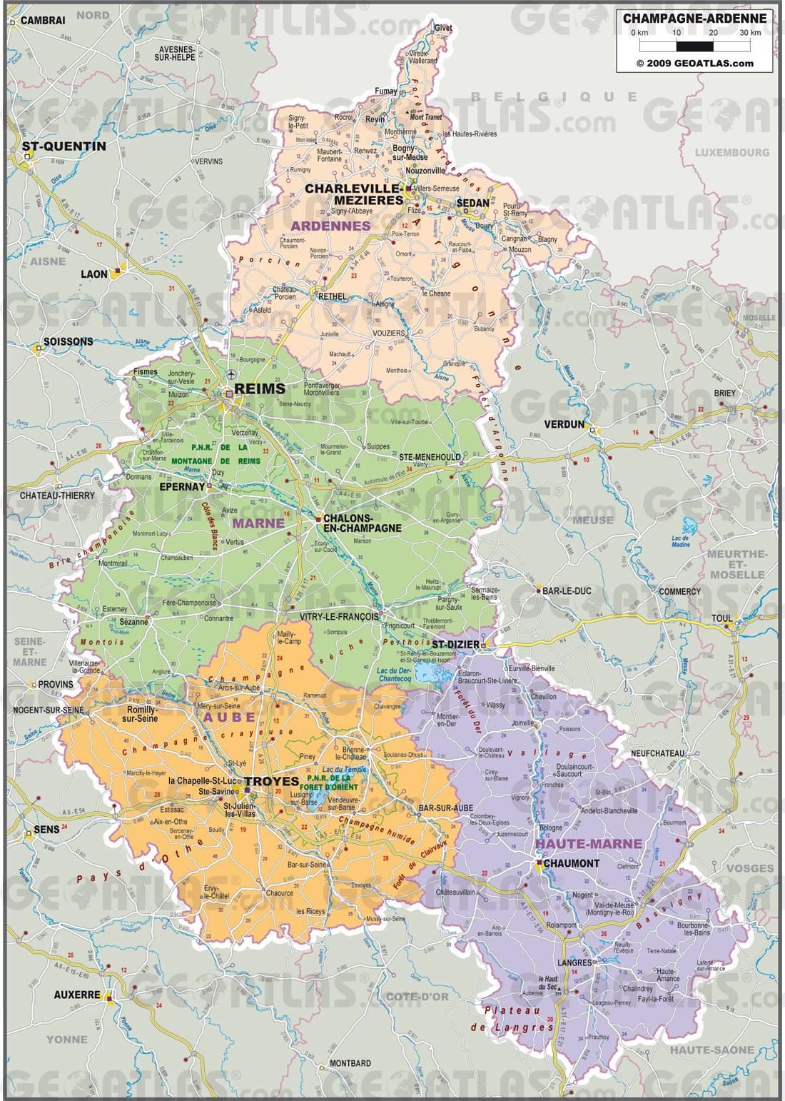 Carte administrative de la Champagne-Ardenne