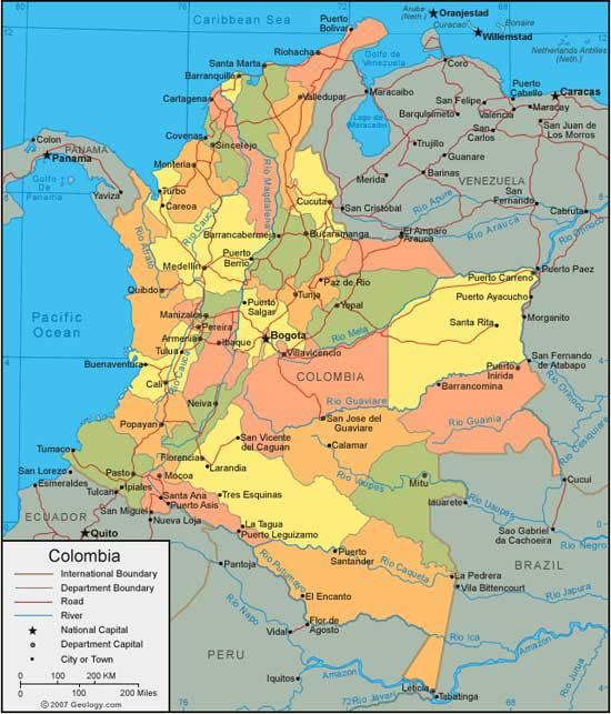 Carte administrative de la Colombie