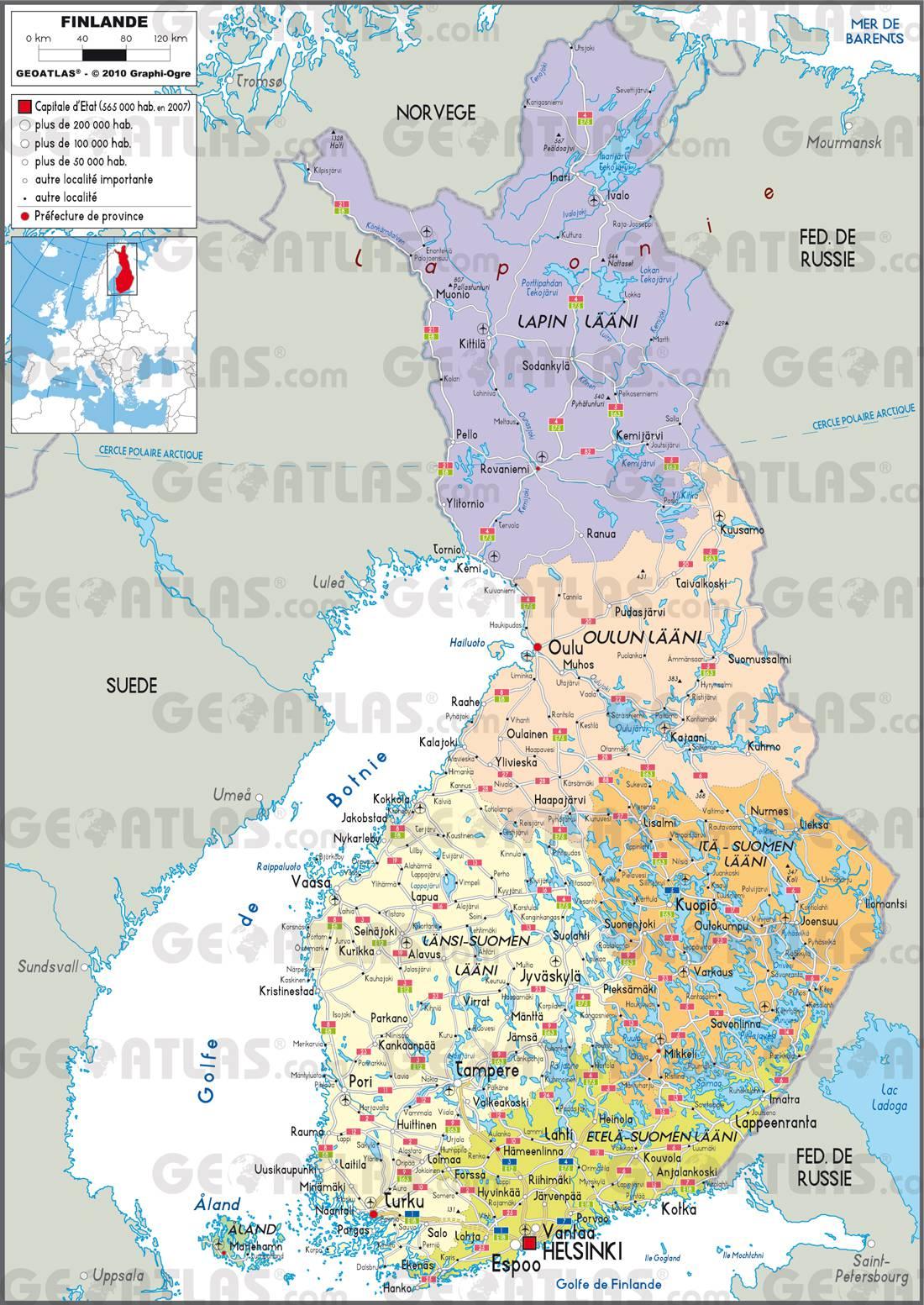 Carte administrative de la Finlande