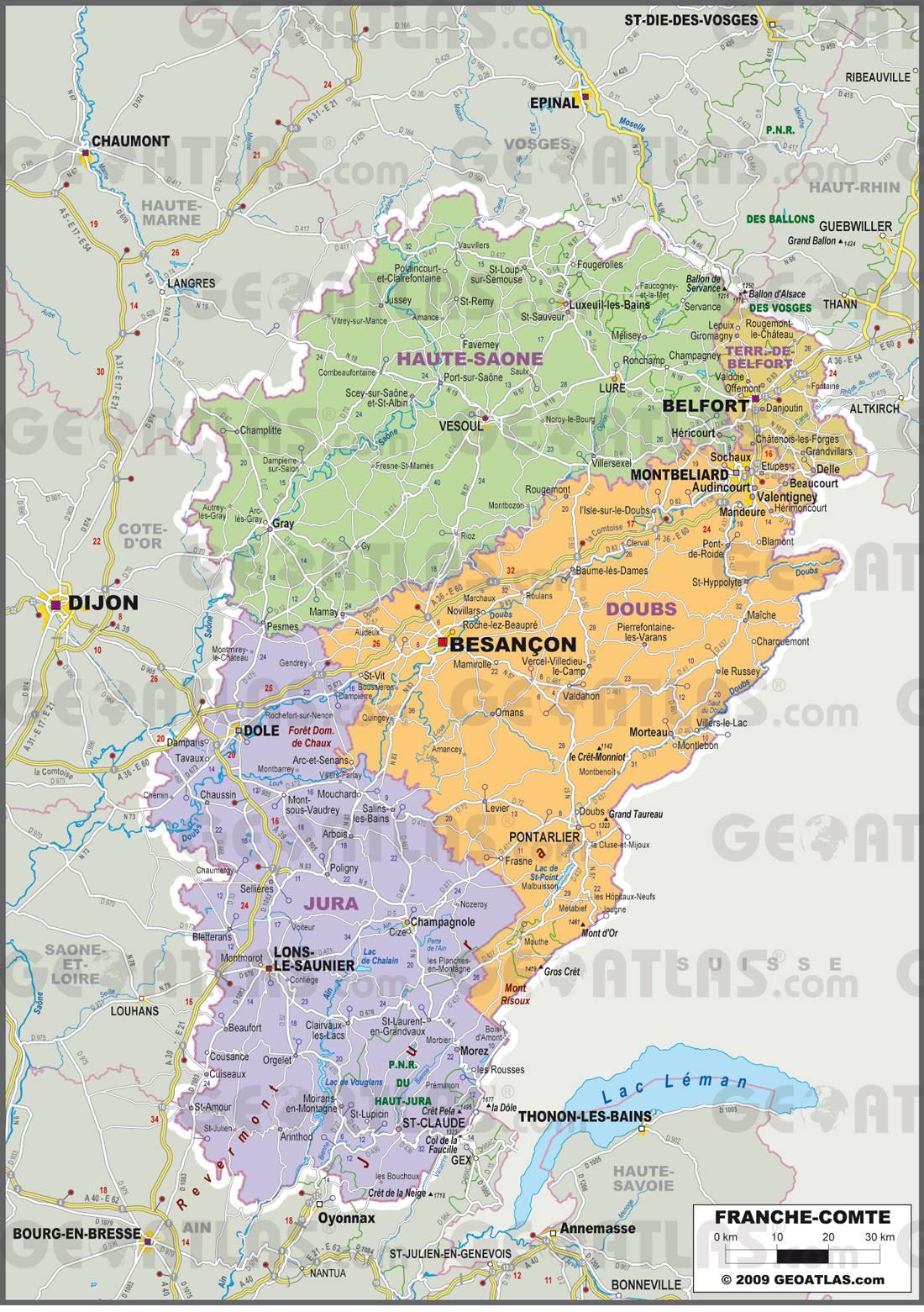 Carte administrative de la Franche-Comté