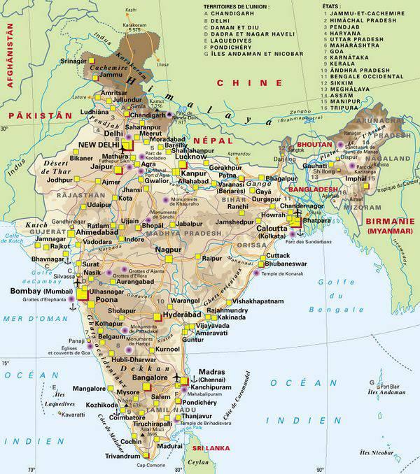 Carte administrative de l'Inde