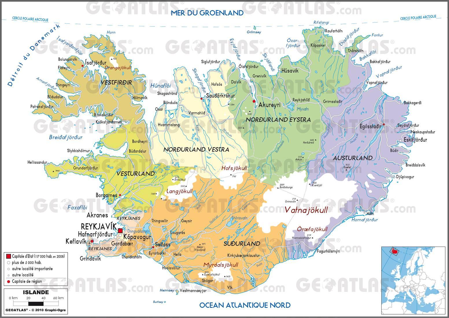 Carte administrative de l'Islande