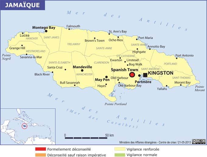 Carte administrative de la Jamaïque