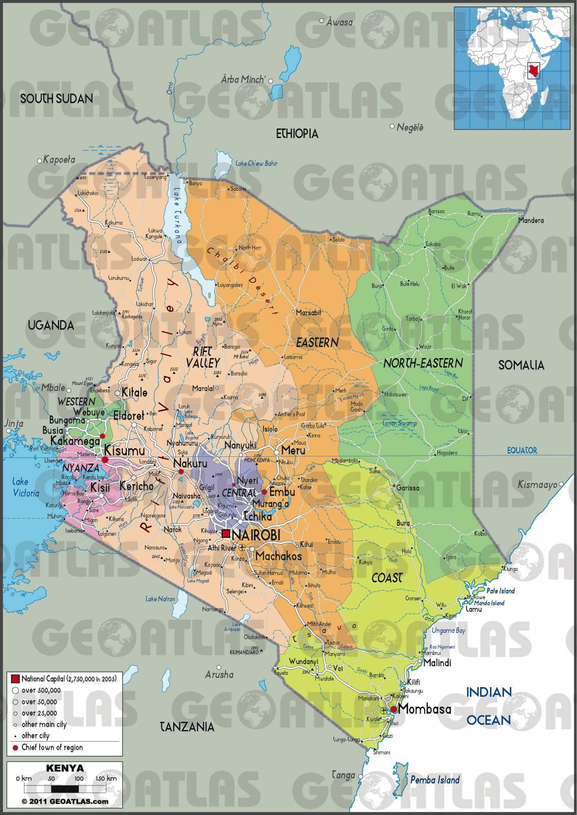 Carte administrative du Kenya