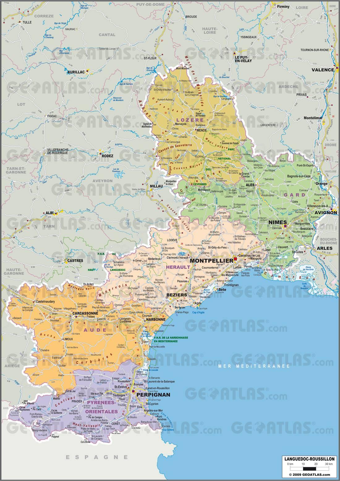 Carte administrative du Languedoc-Roussillon