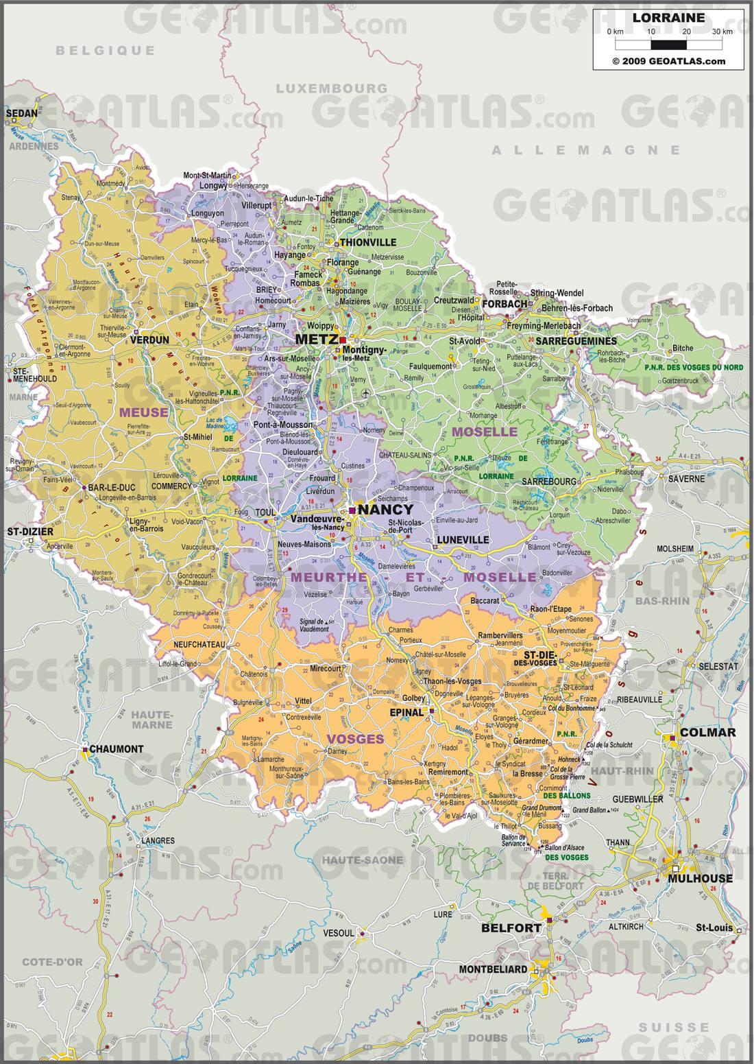 Carte administrative de la Lorraine