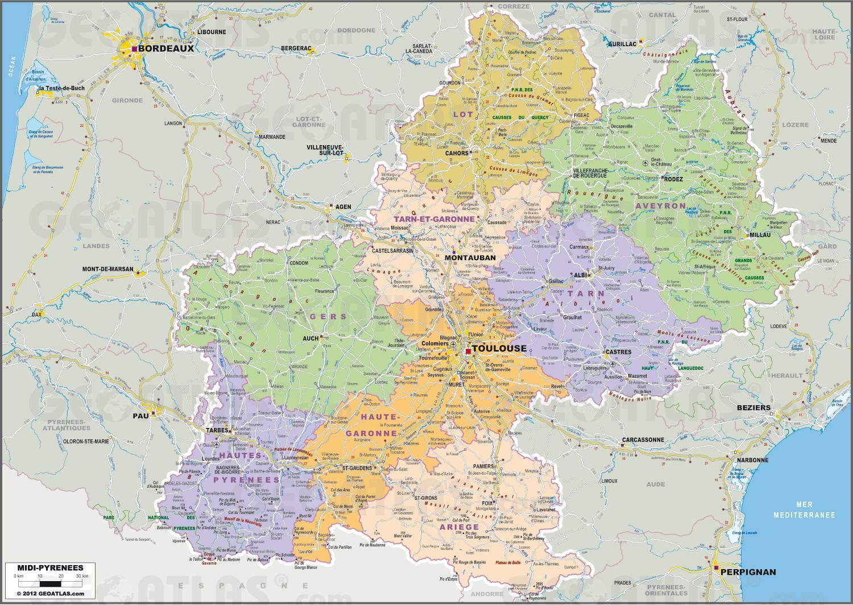 Carte administrative de Midi-Pyrénées