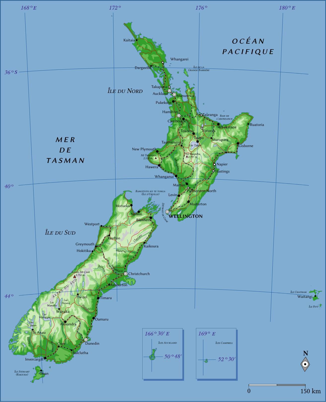 Carte administrative de la Nouvelle-Zélande