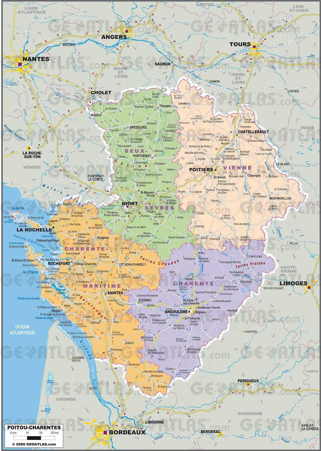 Carte administrative du Poitou-Charentes