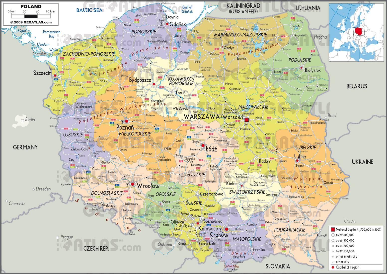 Carte administrative de la Pologne