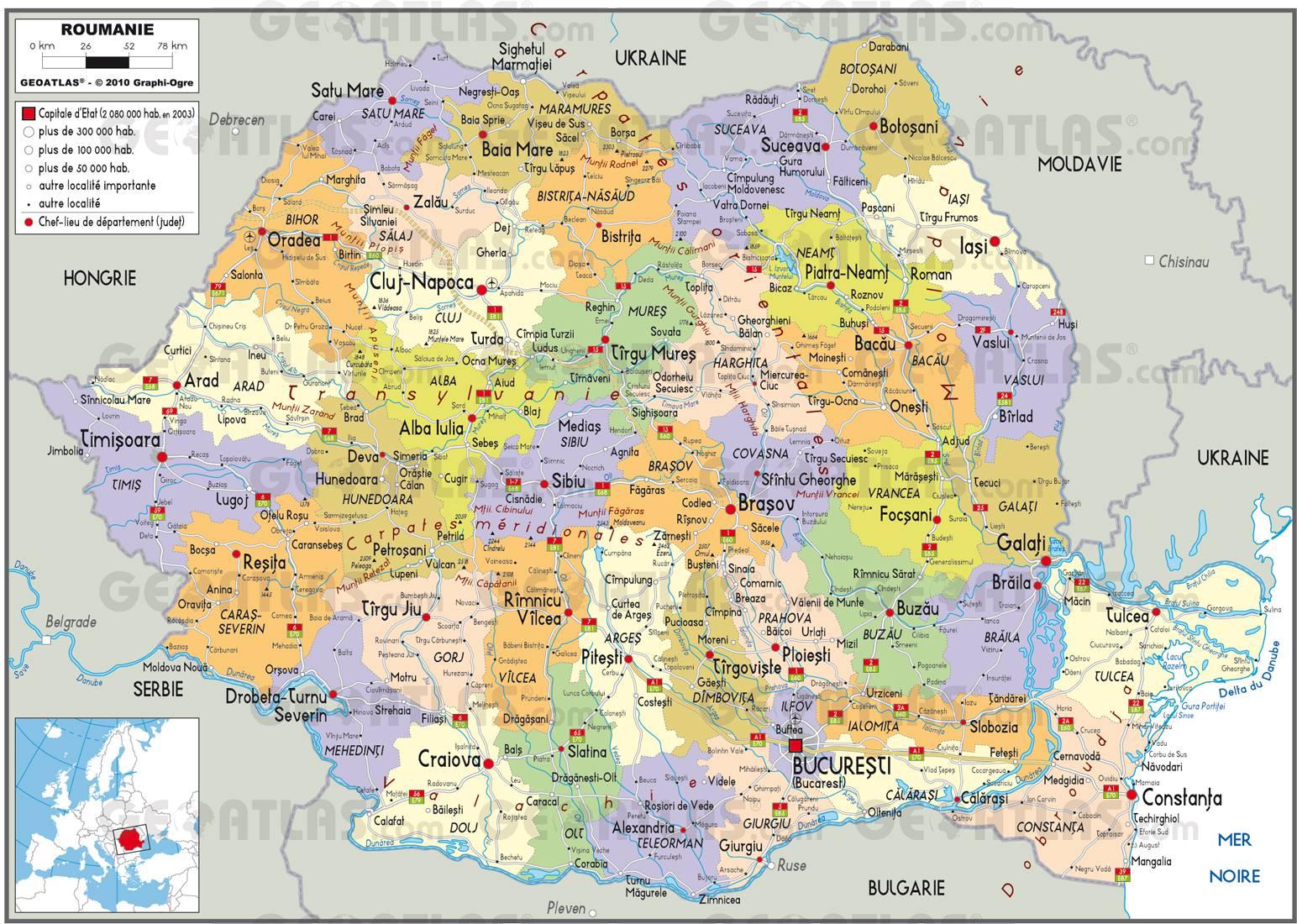 Carte administrative de la Roumanie