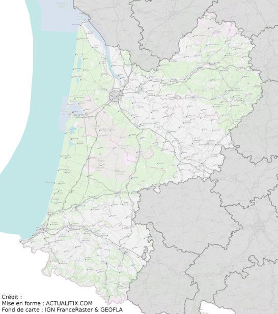Carte de l'Aquitaine