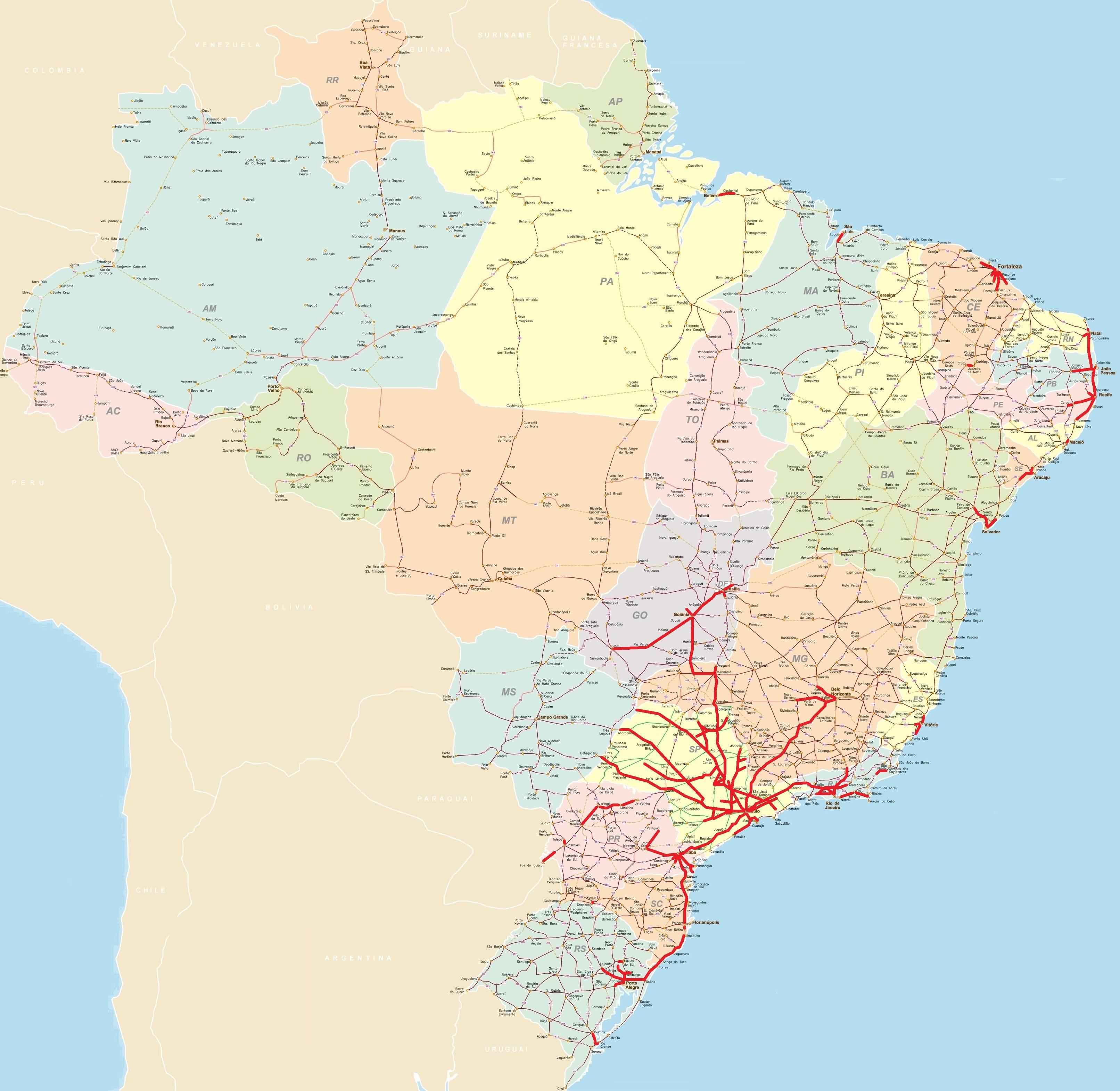 Carte des axes routiers du Brésil
