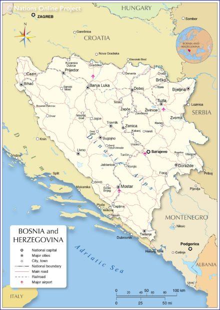 Carte de la Bosnie-Herzégovine