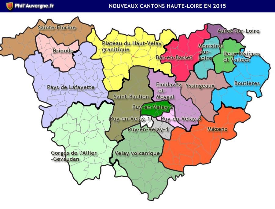 Carte des cantons de la Haute-Loire