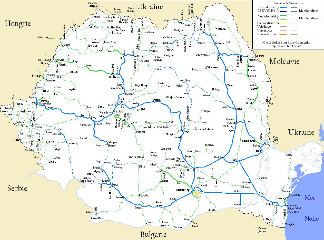Carte des chemins de fer en Roumanie