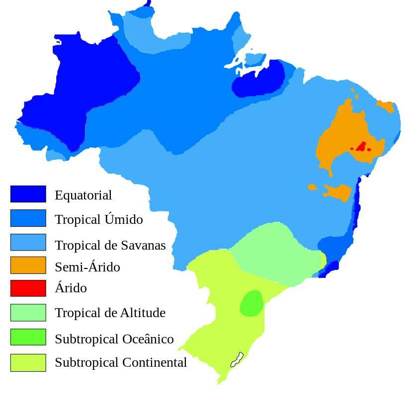 Carte du climat au Brésil