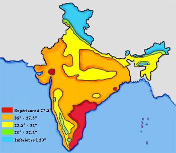 Carte du climat en Inde