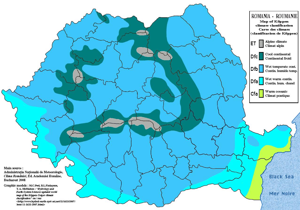 Carte du climat en Roumanie
