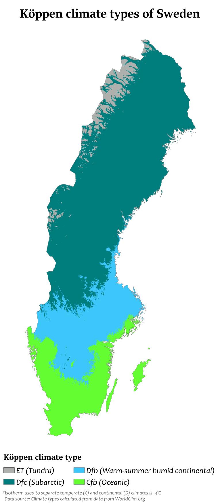 Carte du climat de la Suède