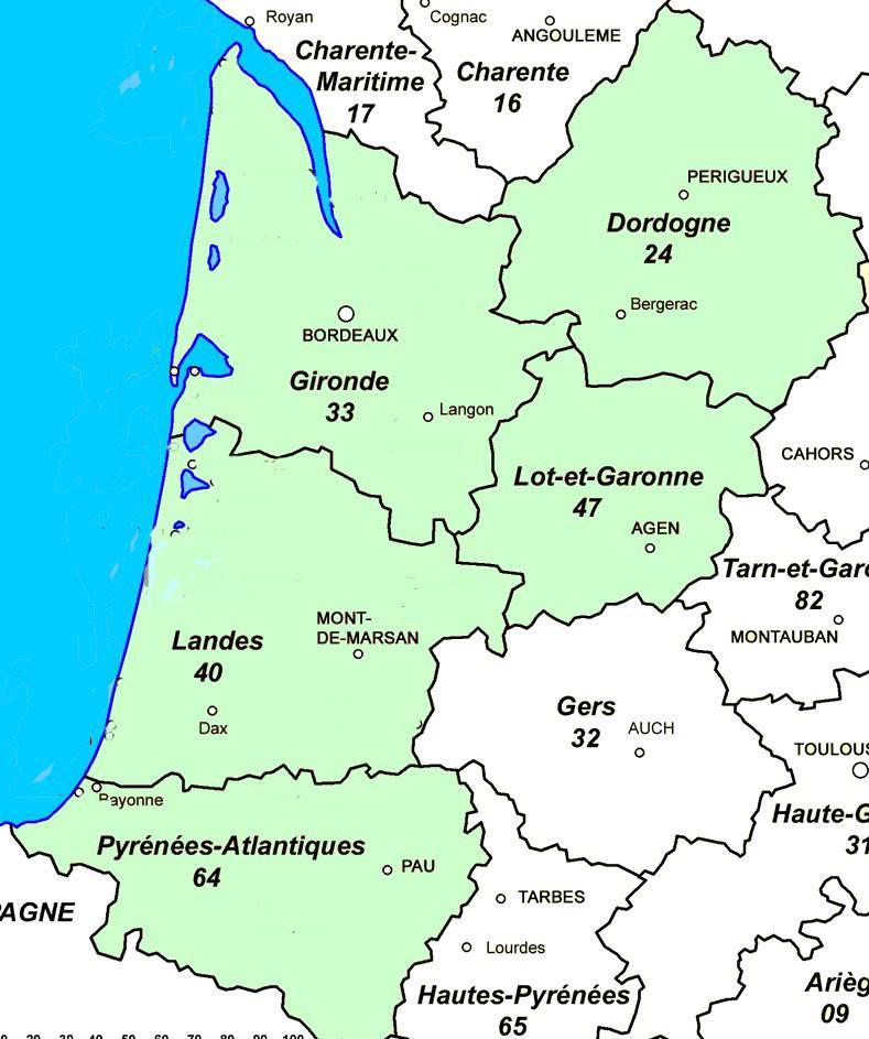 Carte des départements d'Aquitaine