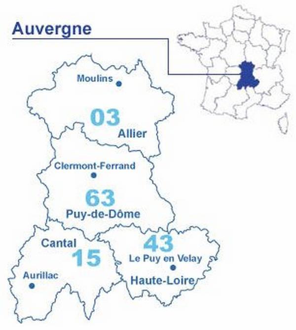 Carte des départements de l'Auvergne