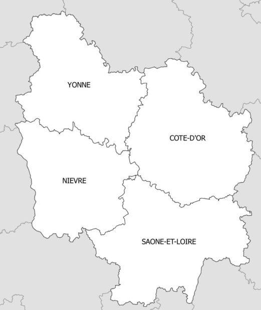 Carte des départements de la Bourgogne