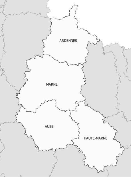 Carte des départements de la Champagne-Ardenne