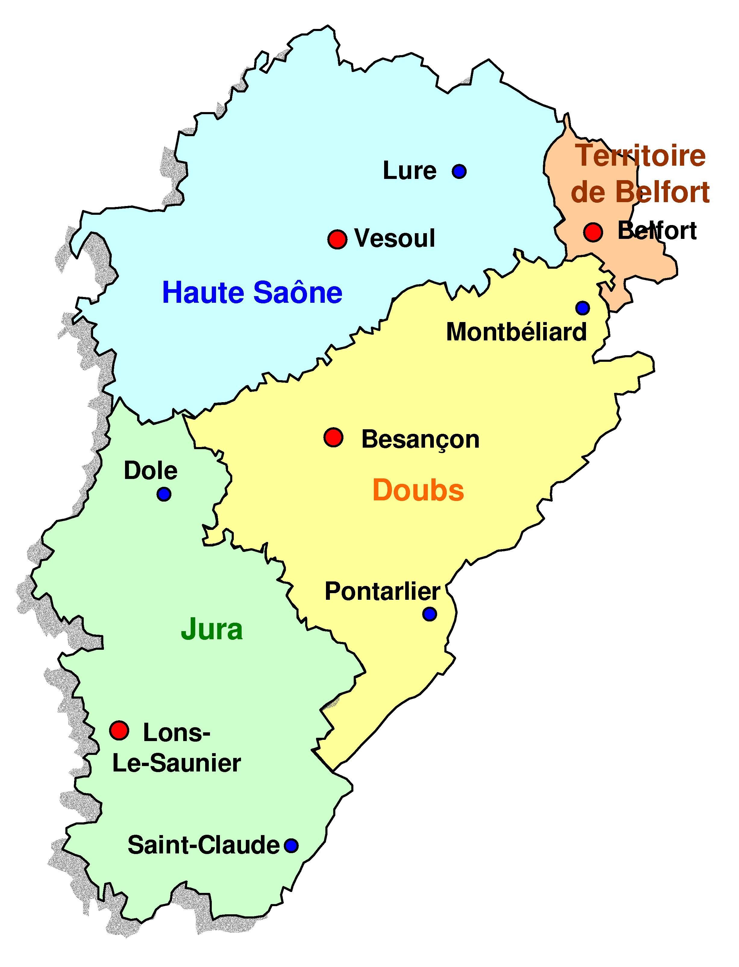 Carte des départements de la Franche-Comté