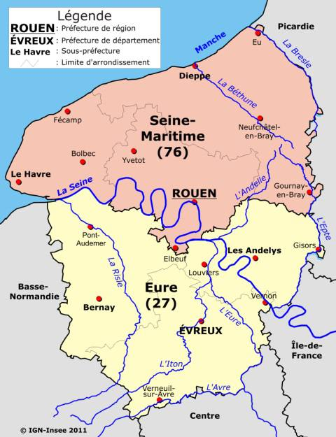 Carte des départements de la Haute-Normandie