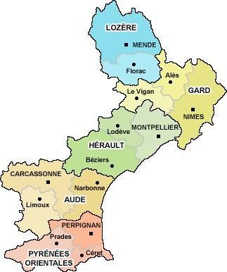 Carte des départements du Languedoc-Roussillon
