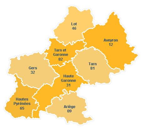 Carte départements de Midi-Pyrénées
