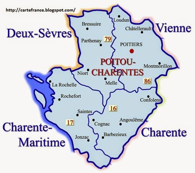 Carte des départements du Poitou-Charentes
