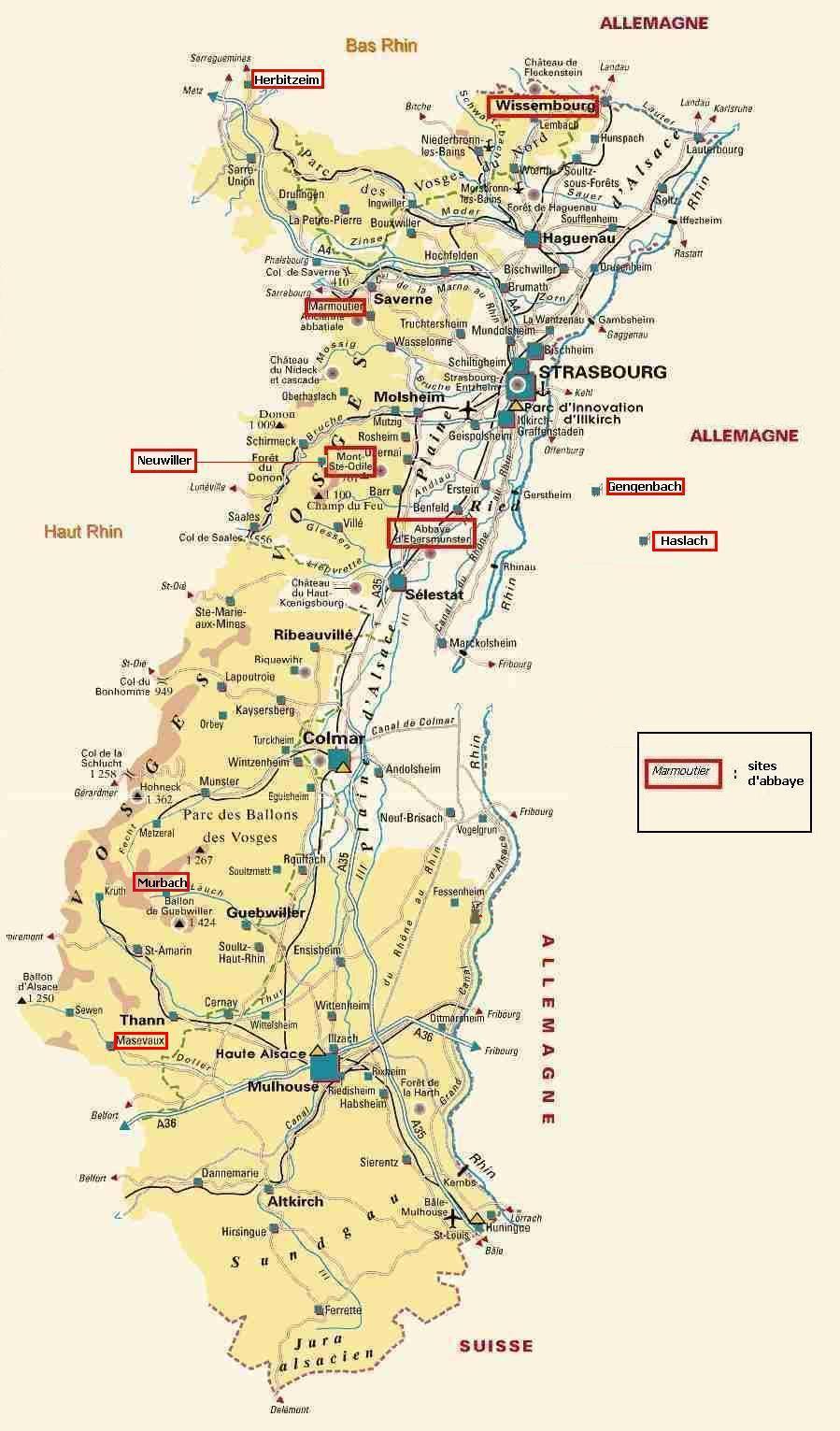 Carte détaillée de l'Alsace