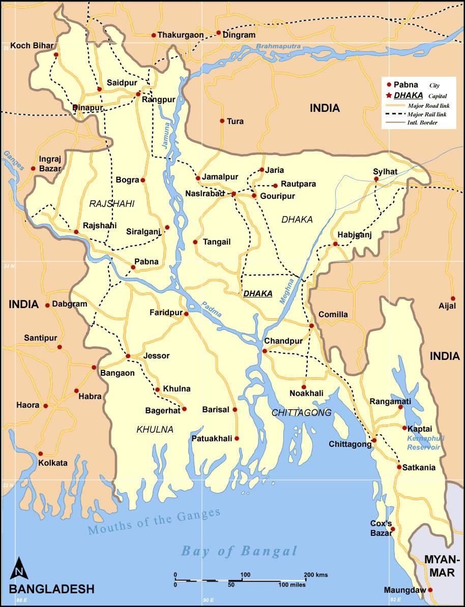 Carte détaillée du Bangladesh