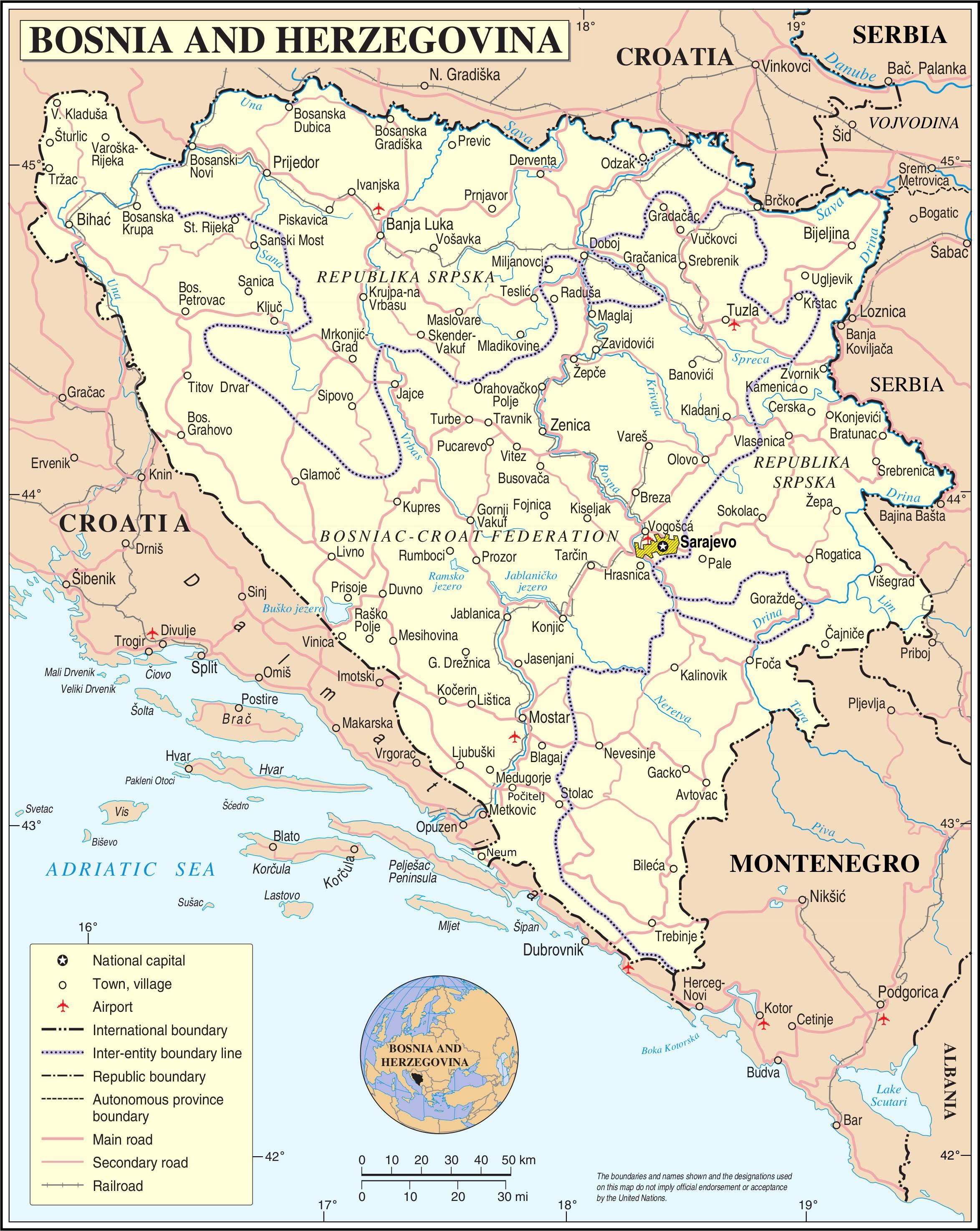 Carte détaillée de la Bosnie-Herzégovine