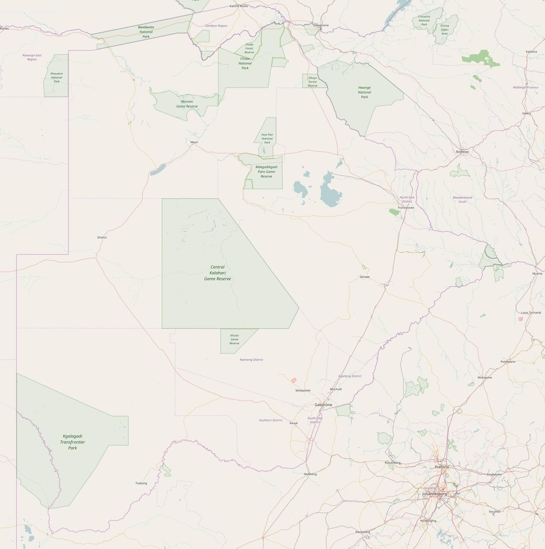 Carte détaillée du Bostwana