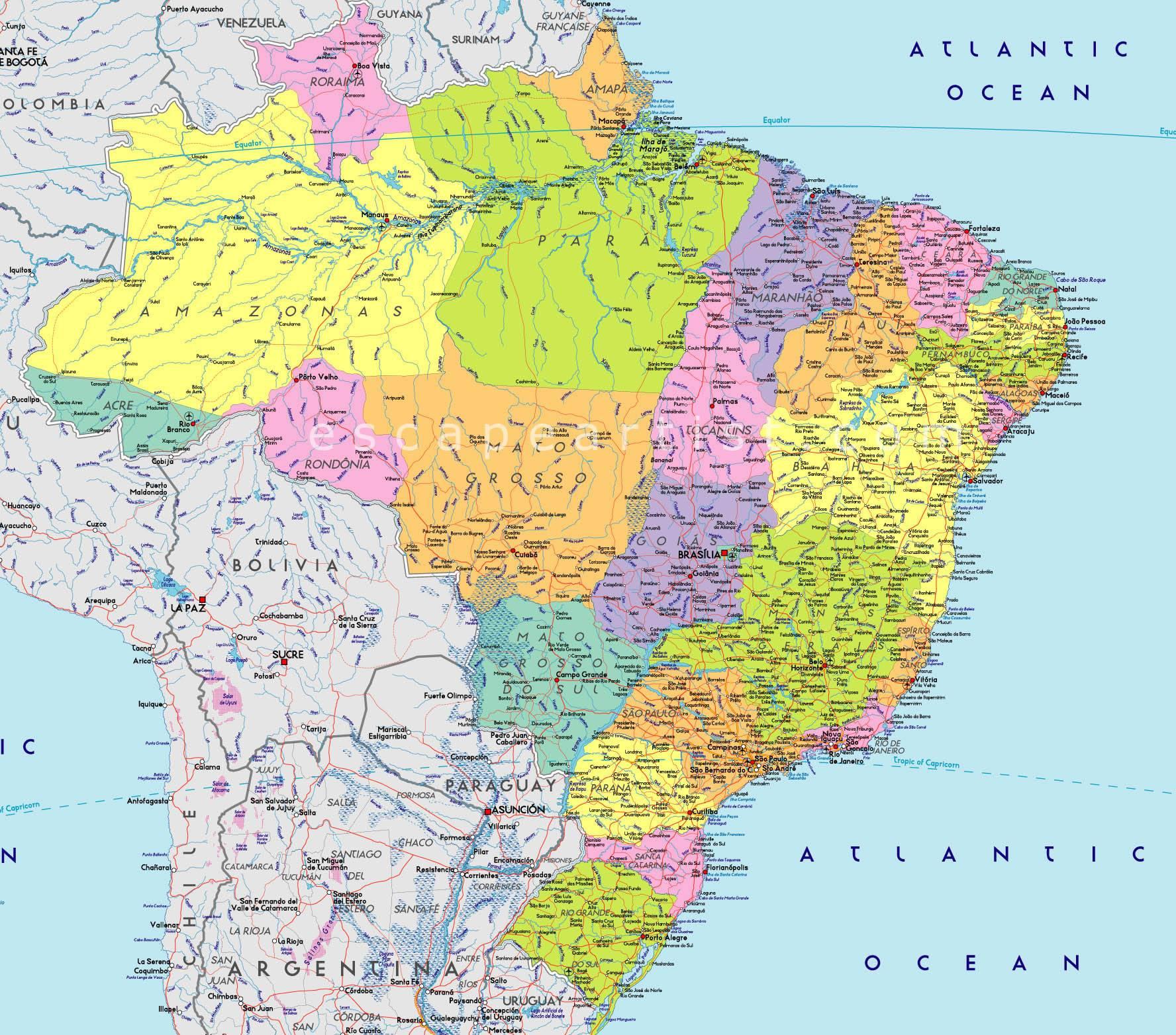 Carte Routiere Nord Bresil.Carte Du Bresil Plusieurs Cartes Du Pays En Amerique Du Sud