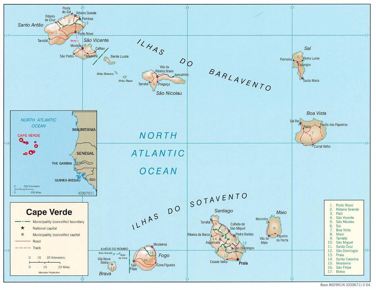 Carte détaillée du Cap-Vert