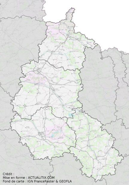 Carte détaillée de la Champagne-Ardenne