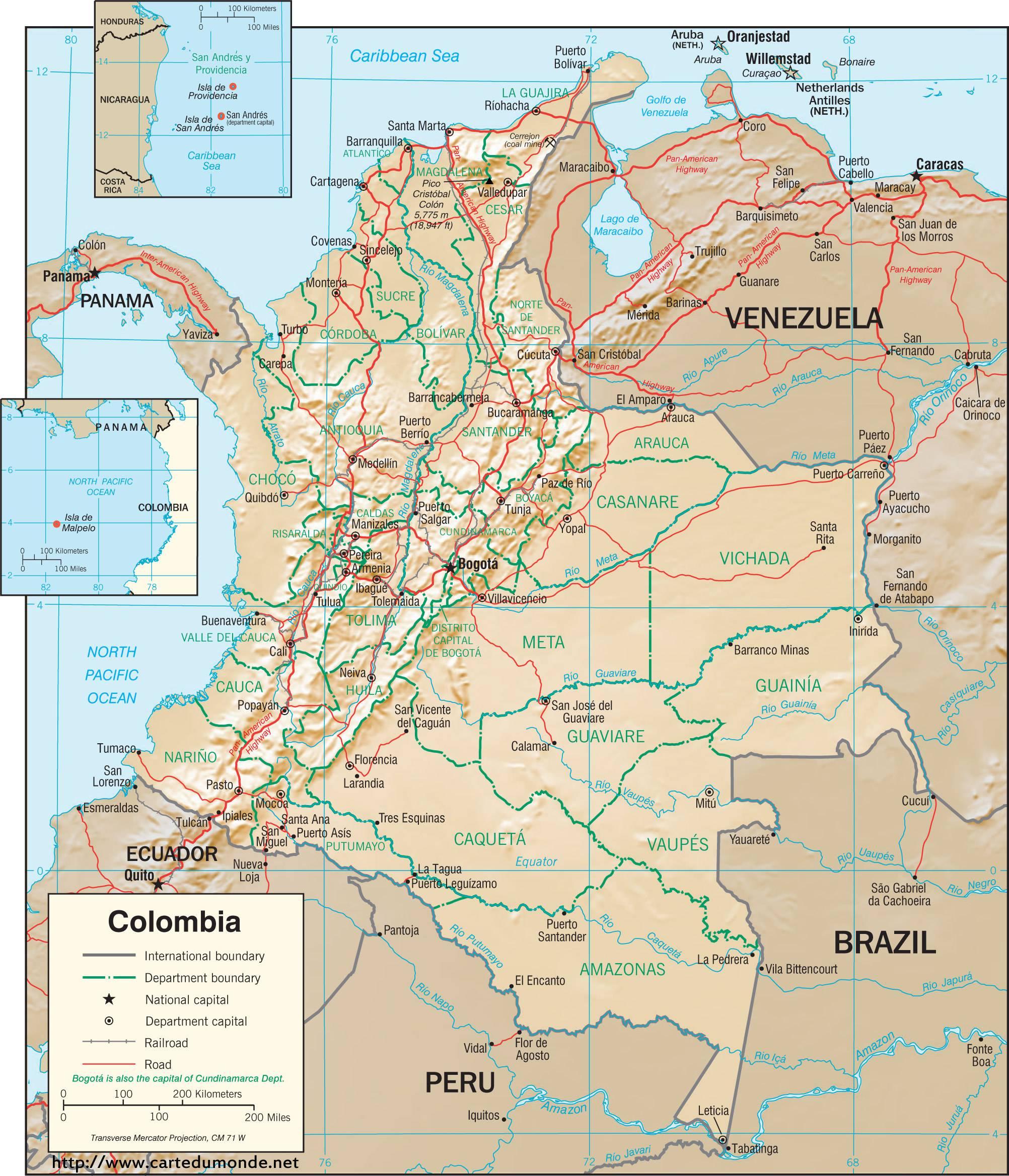 Carte détaillée de la Colombie