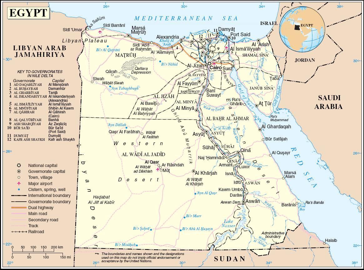Carte détaillée de l'Egypte