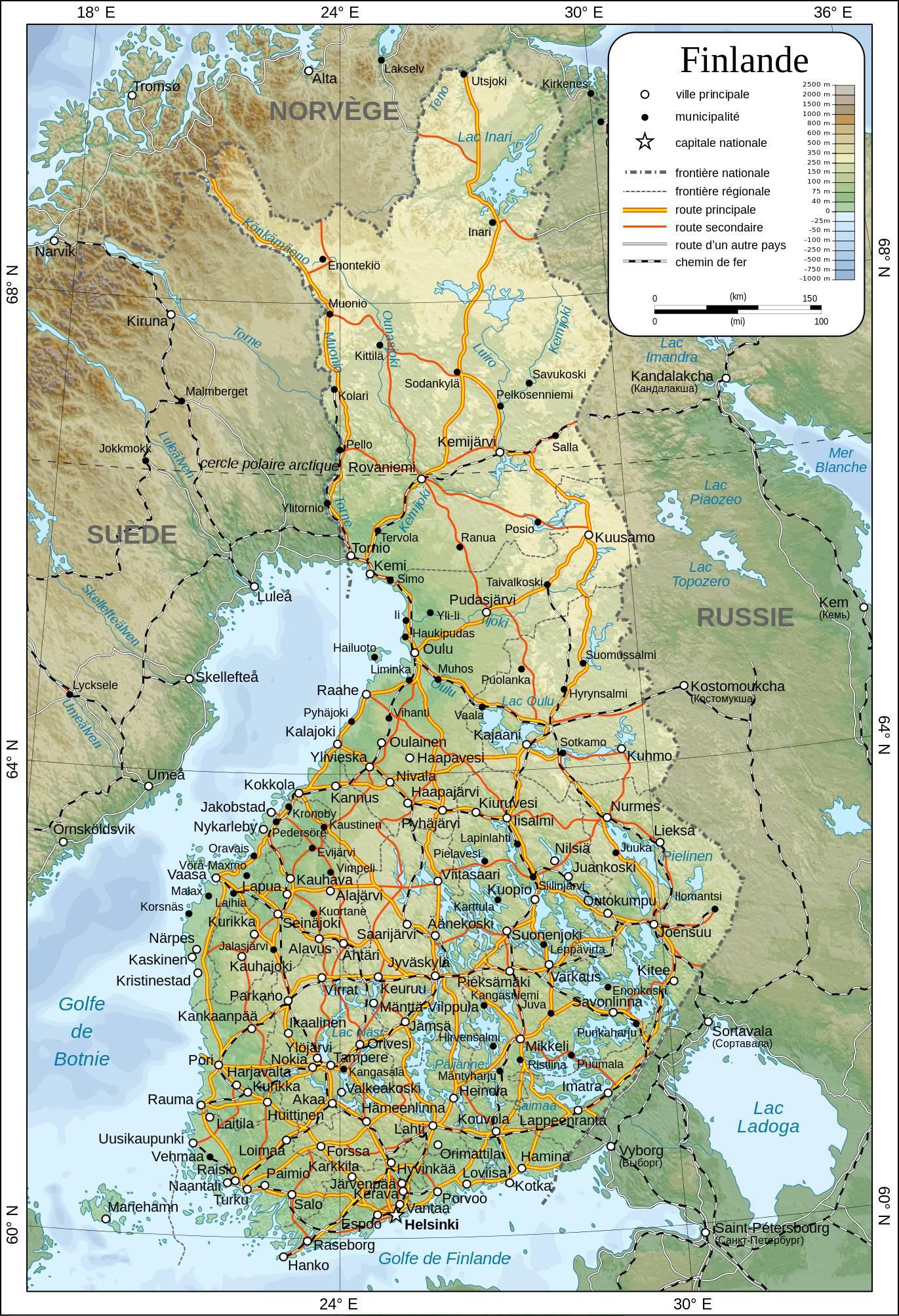 Carte détaillée de la Finlande