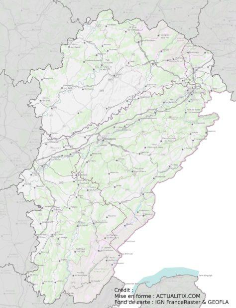 Carte détaillée de la Franche-Comté