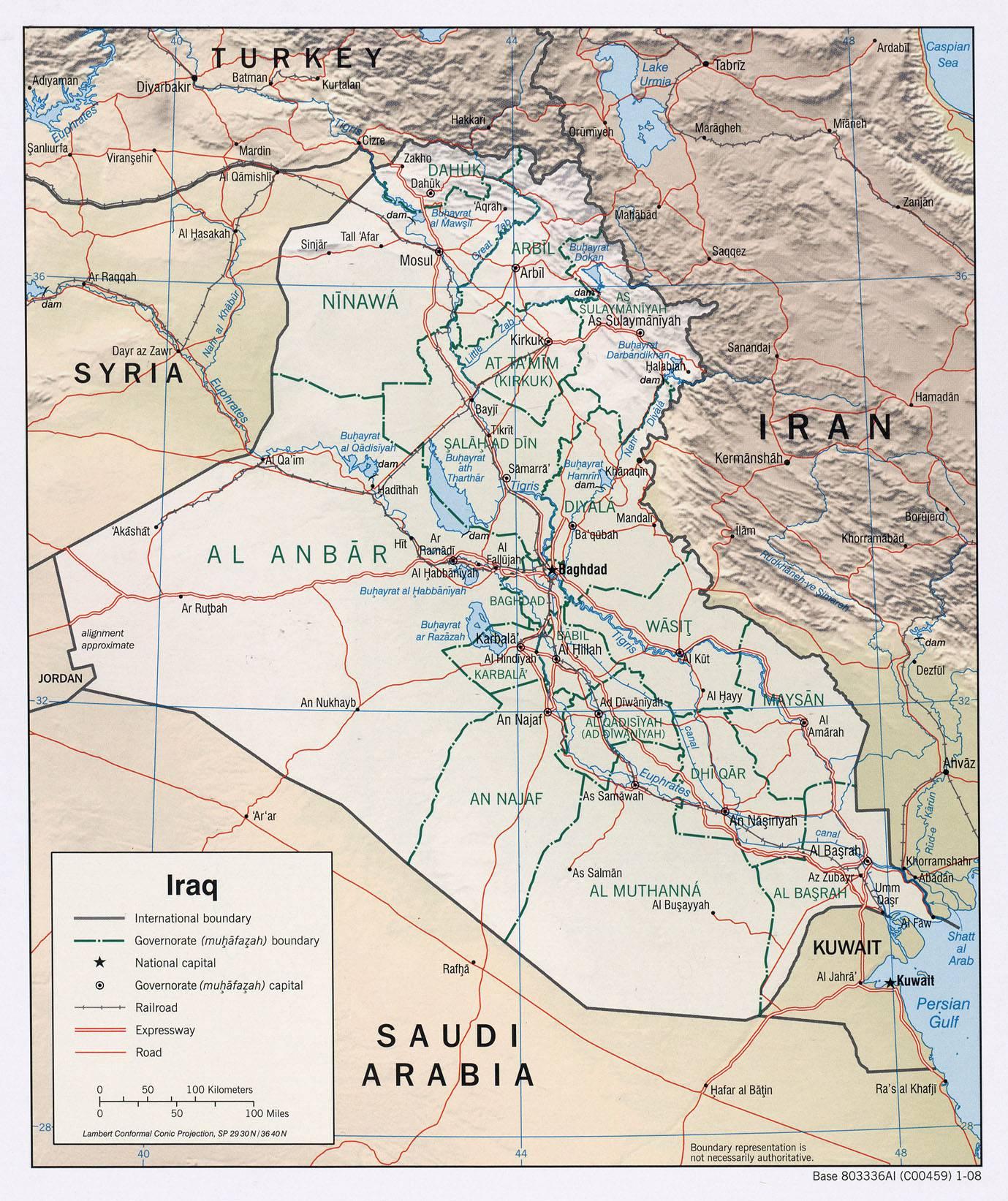 Carte détaillée de l'Irak