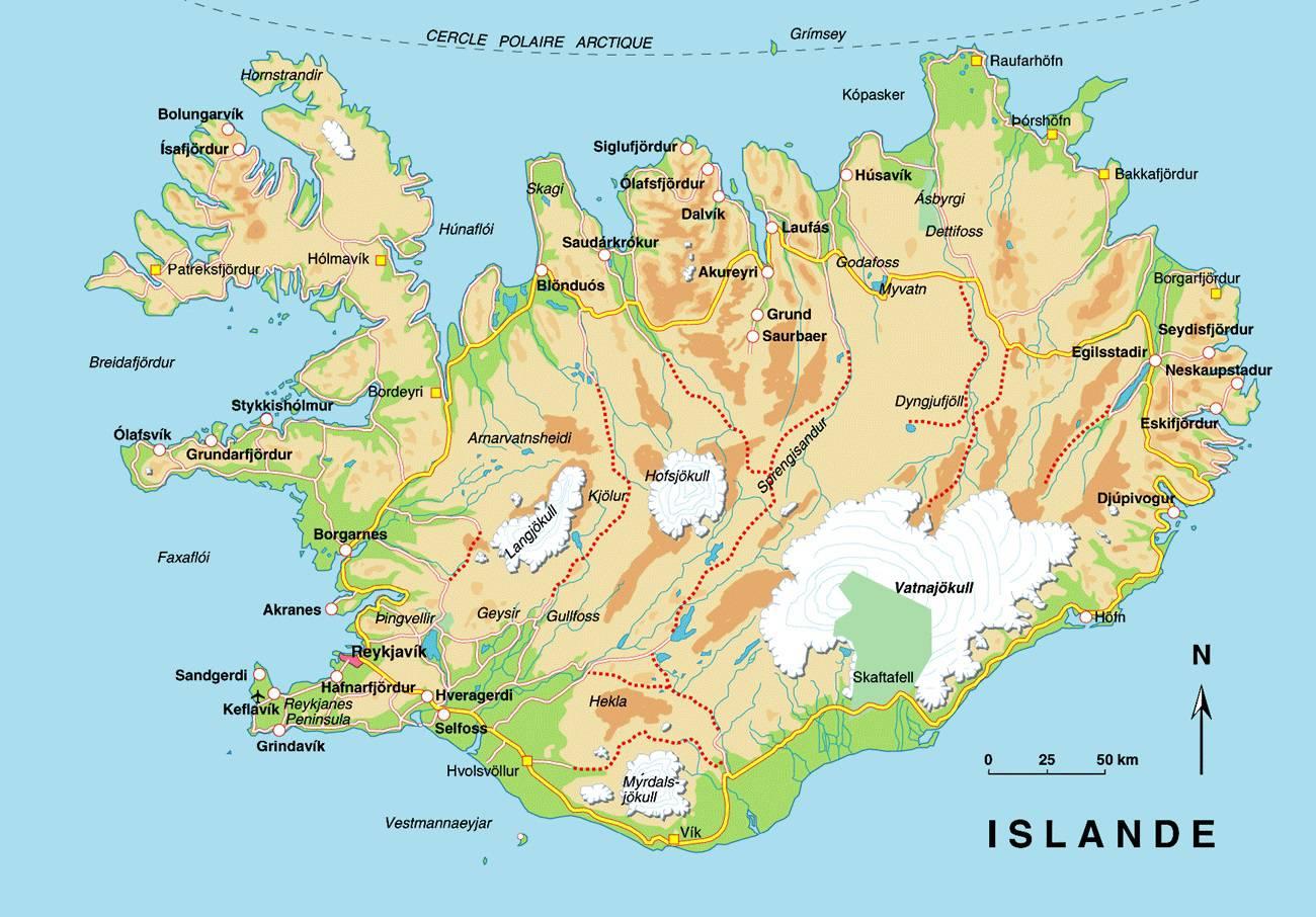 Carte détaillée de l'Islande
