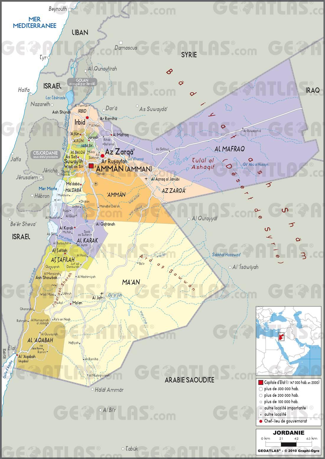 Carte détaillée de la Jordanie