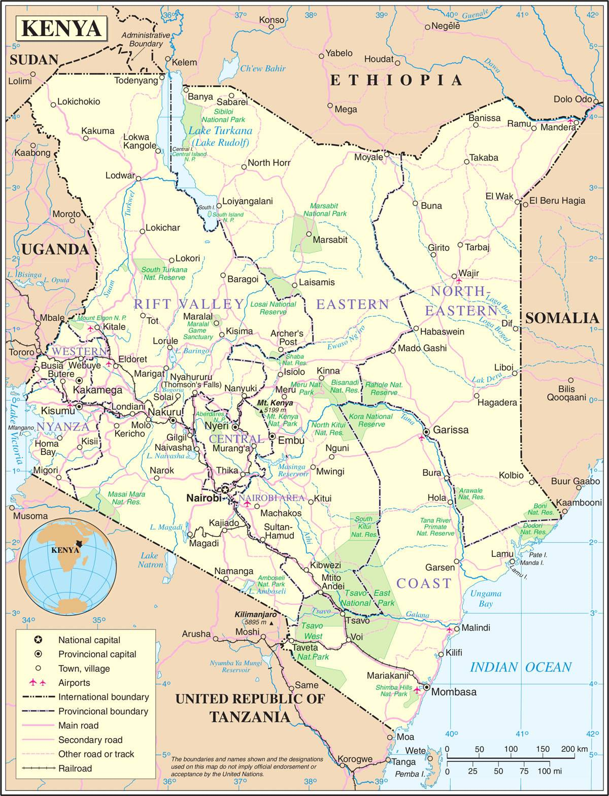 Carte détaillée du Kenya